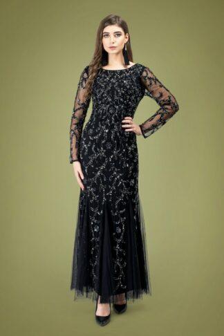 20s Ava Full Sleeve Sequin Maxi Dress in Black