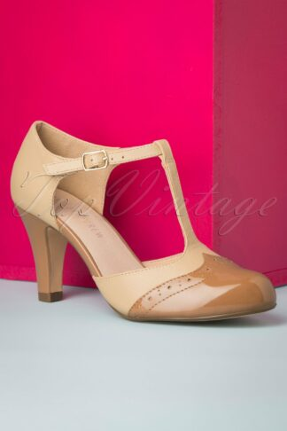 20s Gatsby T-Strap Pumps in Tan and Nude