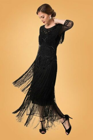 20s Glam Fringe Flapper Maxi Dress in Black