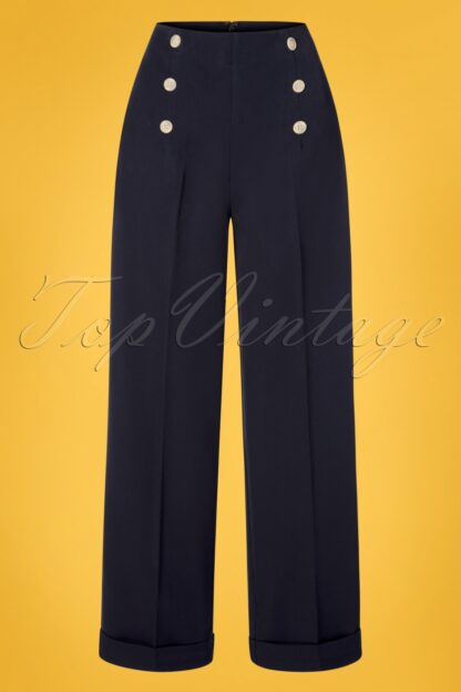 40s Adventures Ahead Button Trousers in Navy