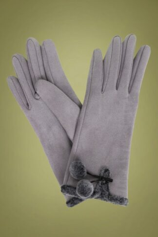 40s Amelia Pom Pom Suedine Gloves in Pale Grey