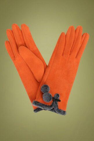 40s Amelia Pom Pom Suedine Gloves in Tangerine
