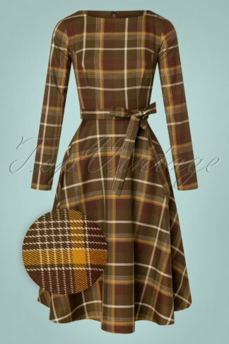 40s Arwen Mosshill Check Swing Dress in Brown