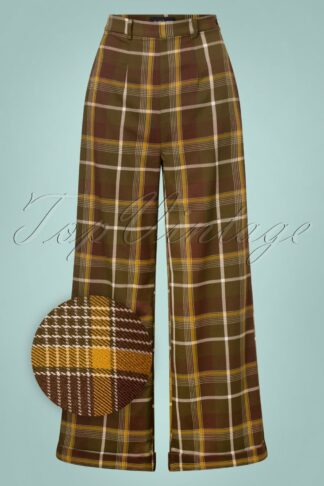 40s Baylee Mosshill Check Trousers in Brown