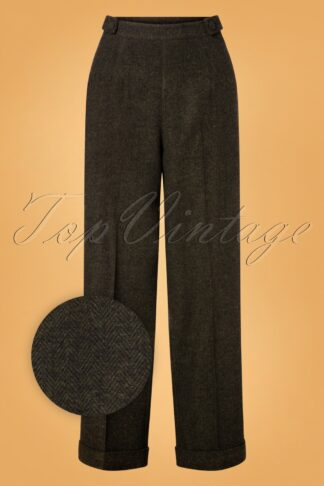 40s Button Side Trousers in Green