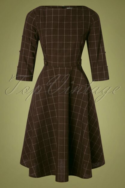 40s Classic Utility Swing Dress in Brown