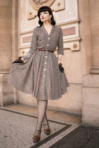 40s D'Laine Dress in Nottingham Beige