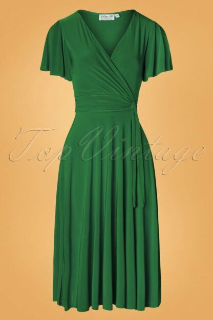 40s Irene Cross Over Swing Dress in Green