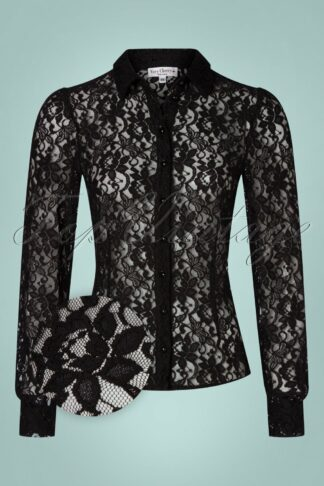 40s Jane Lace Blouse in Black