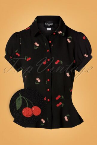 40s Mary Grace Cherry Blouse in Black