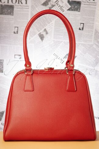 40s Peggy Means Business Handbag in Warm Red