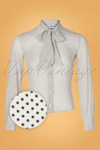40s Ruffle Neck Bubble Dotty Blouse in White