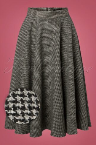 40s Sophie Houndstooth Skirt in Grey