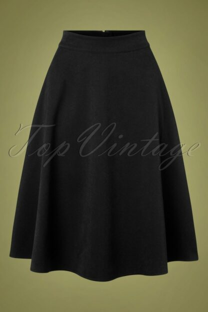 40s Sophisticated Lady Swing Skirt in Black