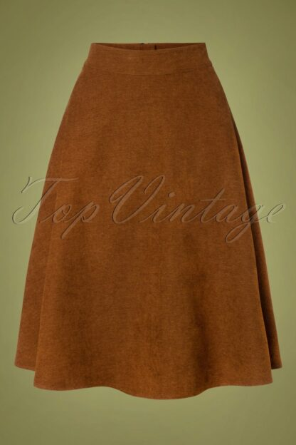 40s Sophisticated Lady Swing Skirt in Brown