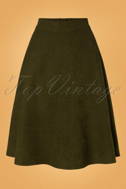 40s Sophisticated Lady Swing Skirt in Green