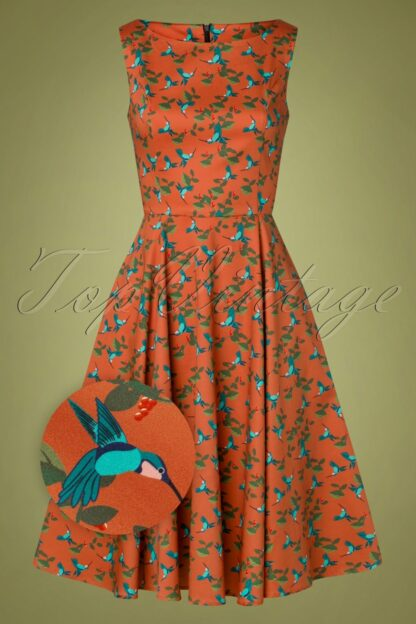 50s Adriana Hummingbird Swing Dress in Rust