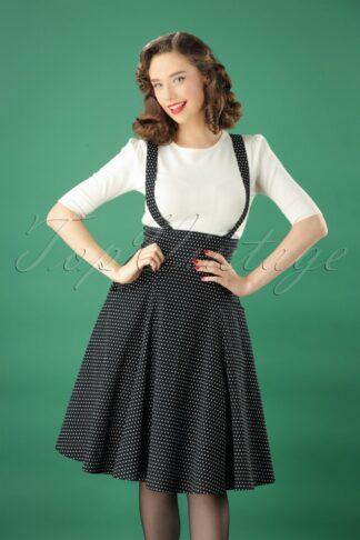 50s Alexa Polka Dot Swing Skirt in Black and White