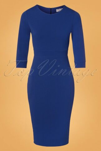 50s Amalia Pencil Dress in Royal Blue