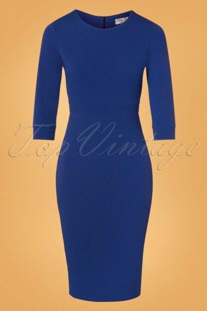 50s Amalia Pencil Dress in Royal Blue