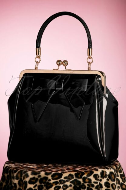 50s American Vintage Patent Bag in Black