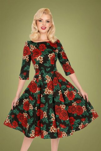 50s Anne Marie Floral Swing Dress in Black