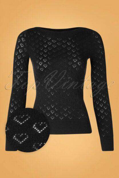 50s Audrey Heart Ajour Top in Black