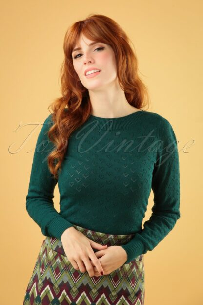 50s Audrey Heart Ajour Top in Dragonfly Green