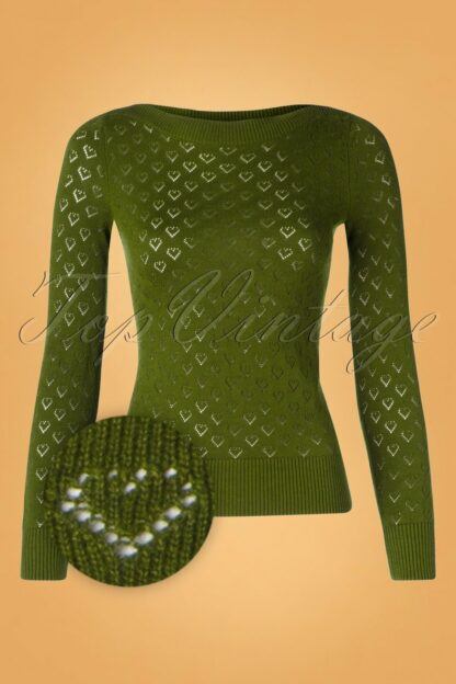 50s Audrey Heart Ajour Top in Olive Green