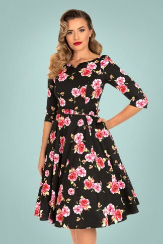 50s Ava Floral Swing Dress in Black