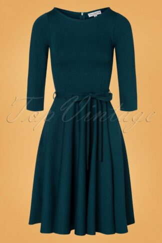 50s Ballerina Dress in Petrol Blue
