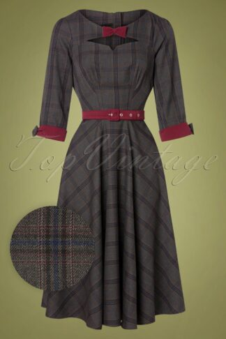 50s Basia Lee Tartan Swing Dress in Grey