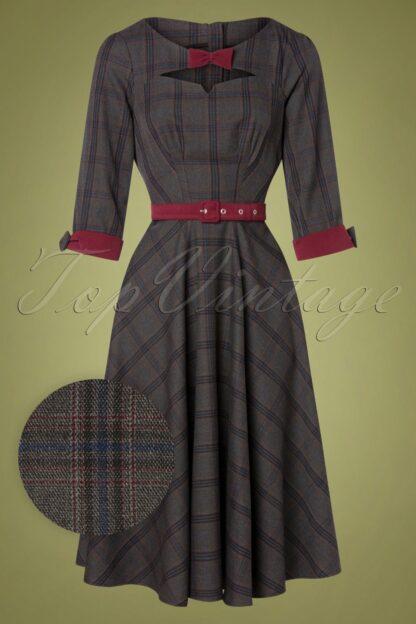 50s Basia Lee Tartan Swing Dress in Grey