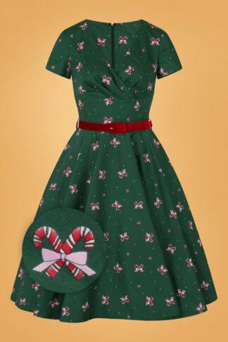 50s Beth Swing Dress in Dark Green