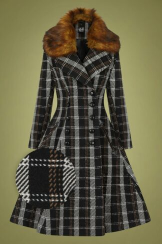 50s Brooklyn Check Coat in Black and Brown