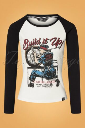 50s Build It Up Long Sleeve T-shirt in Off-White and Black