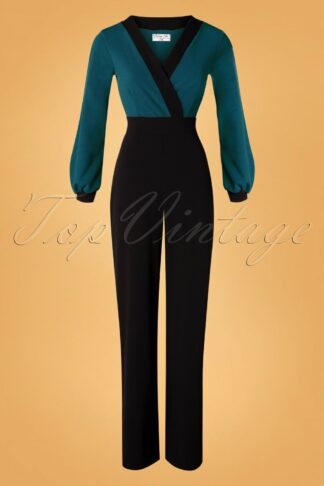 50s Caddie Jumpsuit in Teal and Black