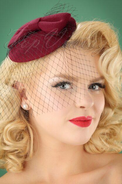 50s Candice Hat in Burgundy