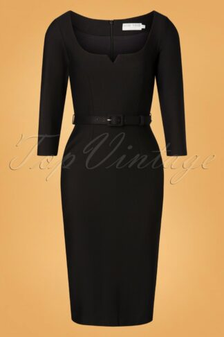 50s Caroline Pencil Dress in Black