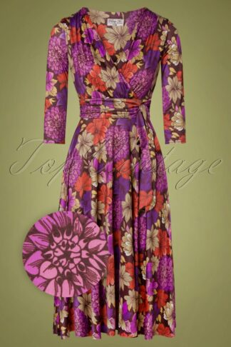50s Caryl Floral Swing Dress in Purple