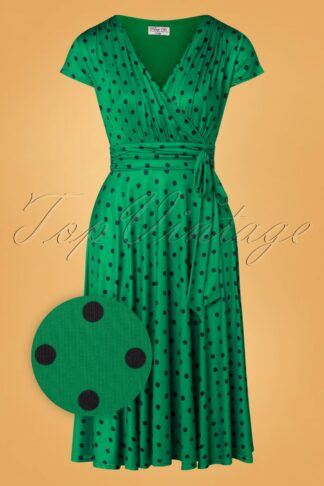 50s Caryl Polkadot Swing Dress in Emerald Green