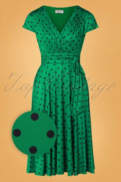 50s Caryl Polkadot Swing Dress in Emerald Green