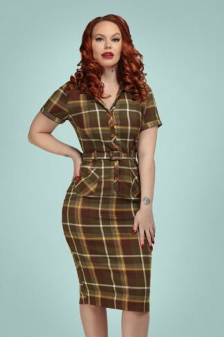 50s Caterina Mosshill Check Pencil Dress in Brown