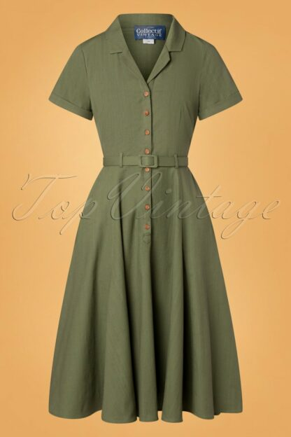 50s Caterina Swing Dress in Olive Green
