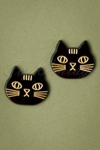 50s Cats Stud Earrings in Black