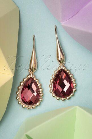 50s Chrystal Drop Earrings in Pink