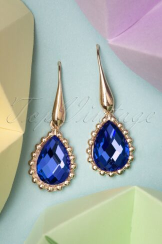 50s Chrystal Drop Earrings in Royal Blue