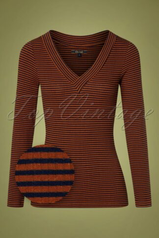 50s Cil Deep V Tweedy Stripe Top in Blue and Rust