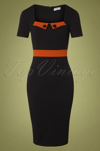 50s Dana Pencil Dress in Black and Cinnamon