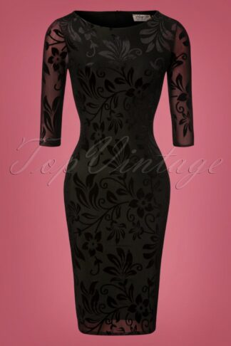 50s Deanna Floral Pencil Dress in Black